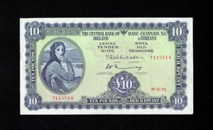 1975 LADY LAVERY CENTRAL BANK OF IRELAND 10 TEN POUNDS BANK NOTE IRISH RARE