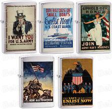Zippo War Bond Vintage WWII Poster Set Of 5 US Army, Marines, Navy, Coast Guard