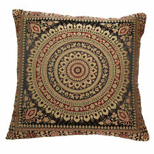 Black Mandala Cushion Covers Gold Banarasi Indian 38cm Indian