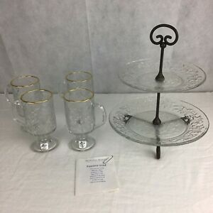 Princess House Fantasia Lot of 2. Pieces 2 tiered Server & Footed Mugs