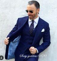2X-Large New Mens Solid Fusion Blue Fullback Wedding Prom Formal Tuxedo Vest
