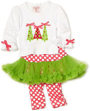 New Mud Pie TRIPLE TREE 2 pc Set TUTU Chrismas Holiday 0-6 Months Baby Girl gift
