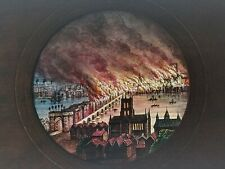 More details for magic lantern slide hand painted great fire of london by cox london