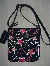 NEW FAB TOMMY HILFIGER NAVY RED AND WHITE STARS CROSSBODY CANVAS HANDBAG RRP $69