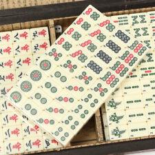 Retro Mahjong Chinese 144 Tiles Mah-Jong Set Bamboo Piece Wooden Box Gift AU