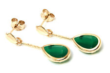 9ct Gold Green Agate Teardrop short drop earrings Made in UK Gift Boxed