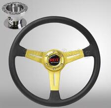 Gold 350mm Steering Wheel + Hub Adapter For Toyota Celica Corolla Cressida MR2