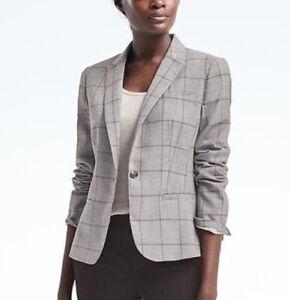 BANANA REPUBLIC Light Gray Windowpane Classic-Fit Lightweight Wool Blazer 0 XS