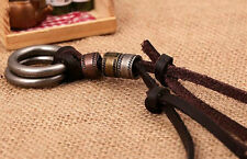 Hot! Men Retro Leather Cord SE Necklace Double Circle Ring XU Pendant Jewelry