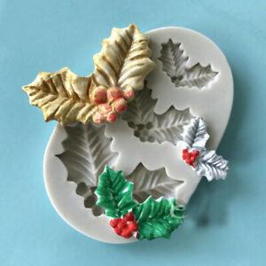 Silicone Christmas Holly Leaves Fondant Cake Mold Plants Baking Sugarcraft Mould