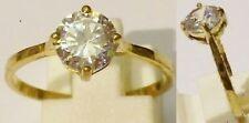 bague bijou vintage solitaire cristal taillé doré or fin rodier T.59 * 4469