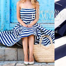 Seide Crepe De Chine Stoff Nähen Mit Blau Und Weiß Streifen Muster Kleiderstoff
