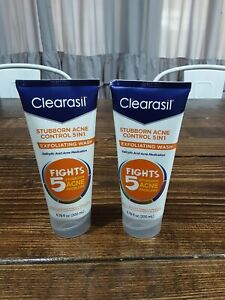 2 New,  Clearasil Stubborn Acne  5n1 Exfoliating Face Wash Scrub 6.78Oz