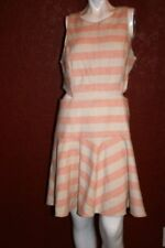 NWT $425 TIBI NEW YORK SLEEVELESS FIT & FLARE DRESS  PINK / WHITE SIZE 12