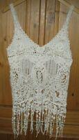 Lovely 153 Women's Blouse Pullover Peasant Sleeveless Crochet Beige size Small