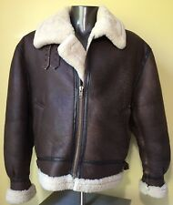 Vintage CALAFATE Brown Leather Bomber Aviator Jacket Shearling Coat Sz Men's XL