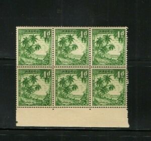 1954 NAURU - 1d ANIBARE BAY MINT BLOCK OF 6 STAMPS FROM COLLECTION BK1