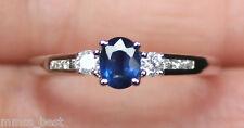 New 10K Nature Blue Sapphire Diamond 3 Stone Past Present Future Ring White Gold