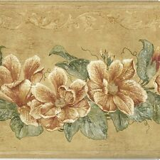 Golden Flowers & Ivy Leaf Wreath - ONLY $9 - Wallpaper Border A249