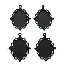 4 Goth Metallic BLACK Art Deco 40mm x 30mm CAMEO Costume PENDANTS Frame Settings