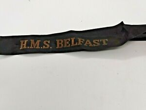TALLY CAP RIBBON HMS Belfast(1938) 1 inch x 13.00 inch GOOD HANDLED CONDITION