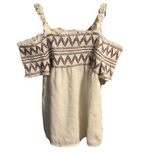 Kandy Kiss Girls Off White Size L Embroidered Smock Cold-Shoulder Top