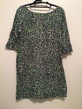 LILLY PULITZER LEOPARD PRINT COTTON Dress Navy Green SZ Medium 3/4 Sleeve