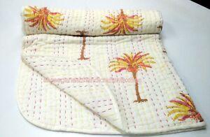 Pam Tree Indian Baby Kantha Quilt Block Print Throw Bedding Nursery Blanket S903