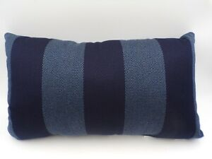 "Pottery Barn Sunbrella Maury Striped Lumbar Pillow 16x26"" Blue #9835B"