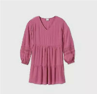 WOMEN'S PLUS SIZE LONG SLEEVE TIERED DRESS - AVA&VIV ROSE X - NEW W/TAGS