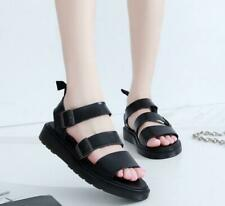 Lady Womens Ankle Strap Buckle Roman Flat Gladiator Sandals Chunky Cleated Shoe