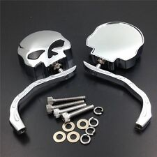 For Harley Softail Rocker C FXCWC 2008-2011 Skull Flame Chrome Side Mirrors