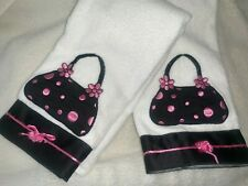 "AVANTI Purse Applique White and Black, Pink 2 Bath Towels 16"" X 24"" Unused"