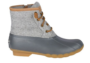 NIB Women's Sperry Saltwater Duck Boots in Wool Dark Grey STS82475