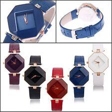 New Fashion Women Diamond Leather Stainless Steel Analog Quartz Wrist Watch
