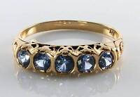 RARE 9CT 9K YELLOW GOLD CEYLON SAPPHIRE ETERNITY VICTORIAN INS RING FREE RESIZE