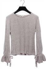 LUCKY BRAND NEW 23819 Tie Sleeve Rib Pullover Sweater Womens Top L