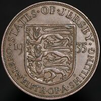 1935 | Jersey George V One Twelfth Of A Shilling | Bronze | Coins | KM Coins
