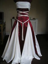 SATIN RENAISSANCE PAGAN WEDDING HAND FASTING DRESS WINE & IVORY MADE TO MEASURE