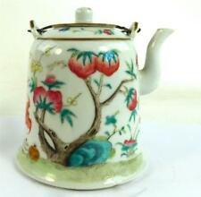 CHINESE FAMILLE ROSE PORCELAIN TEAPOT PEACH TREE BAT & PHEONIX