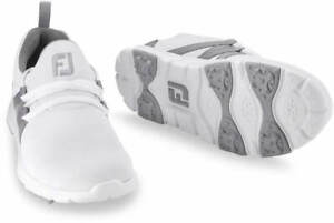 Girls Boys Footjoy Leisure Junior Golf Shoes Slip On Spikeless White Grey 1 USED