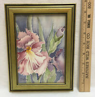 Watercolor Iris Flower Signed Nelson Painting Picture Framed Art Work Signed