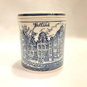 Delft Blava Holland Amsterdam Jar With Lid Canister Town Painted Blue White