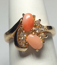 Gold Peach Coral Cocktail Ring Size 6 Gemstone Vintage Style Plated Statement