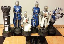 MEDIEVAL TIMES CRUSADES WARRIOR WHITE & BLUE CHESS MEN SET THE CRUSADE -NO BOARD