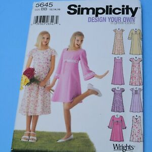 Simplicity #5645 GIRL'S dress 12-16 w/ variations   FF UC