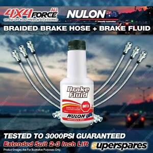 "6 F+R Braided Brake Hoses Nulon Fluid for Nissan Patrol GQ - GU 87-96 2""-3"" Lift"