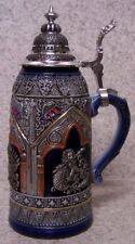 Beer Stein with lid Stoneware Scepter & Lion 0.50 Liter NEW Made Germany boxed A