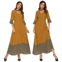 Islamic Women Printed Long Maxi Dress Muslim Abaya Jilbab Robe Dubai Gown Party