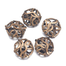 10pcs Antique Bronze Iron Wire Wrapping Metal Beads Flat Round Loose Spacer 20mm